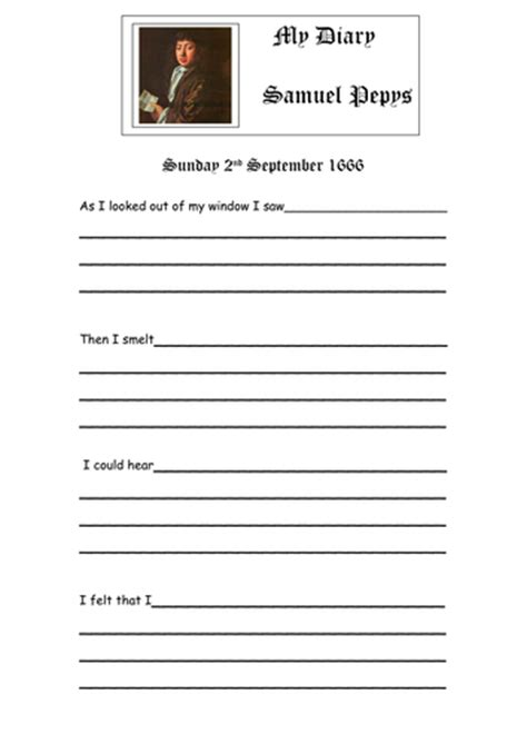 printable diary extracts samuel pepys teaching resources by