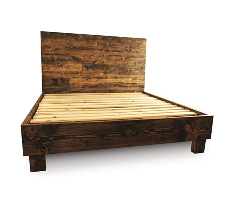 Rustic Solid Wood Platform Bed Frame Headboard Reclaimed Unfinished Wood Bed Frame