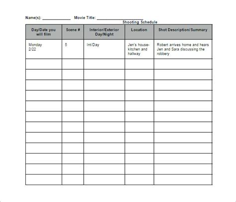 documentary production schedule template shooting schedule template 14 free word excel