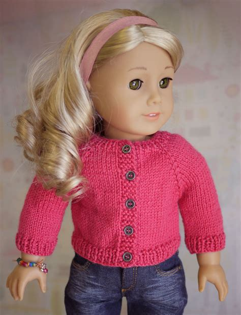 American Doll Cardigan Sweater Knitting Pattern