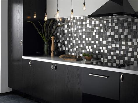 backsplash for black and white kitchen black kitchen tiles ideas quicua com
