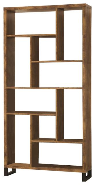 coaster bookcase antique nutmeg black transitional