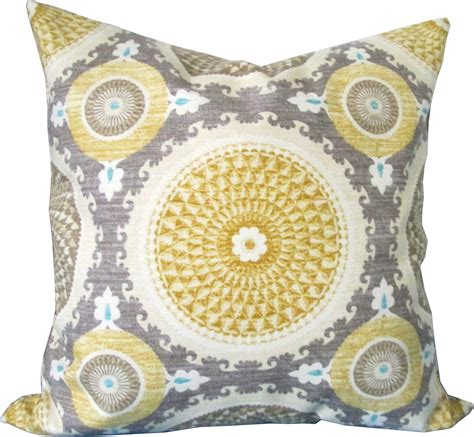Grey And Yellow Decorative Pillows by Yellow And Gray Suzani Decorative Pillow