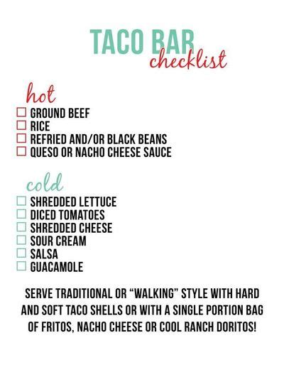 taco bar checklist little baby seed recipes entrees