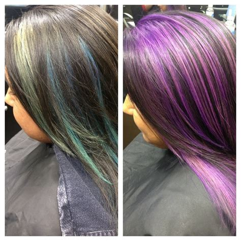 purple shoo for purple highlights blue peek boo highlights to purple highlights hair by