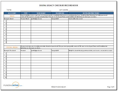 digital legacy guide amp checklist record book funeralwise