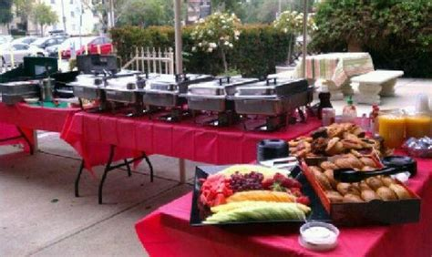 outdoor buffet ideas red tables wedding catering ideas