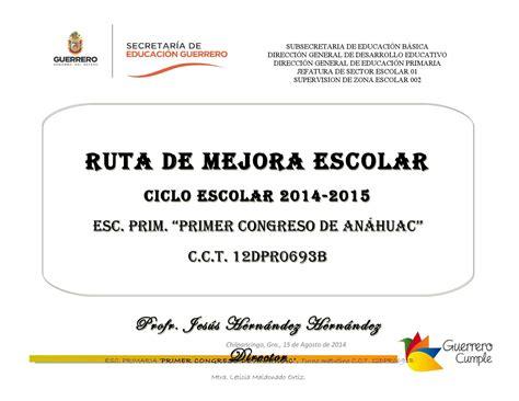 ejemplo de diagnostico de ruta de mejora preescolar ruta de mejora 2014 2015 by maria guadalupe solano catalan