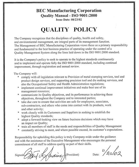 template of quality policy mission statement