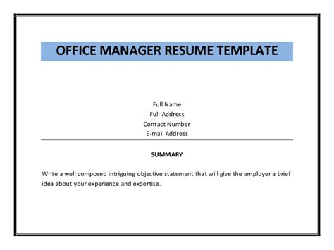 Office Manager Resume Exles by Office Manager Objective Statement 28 Images 10 Sle
