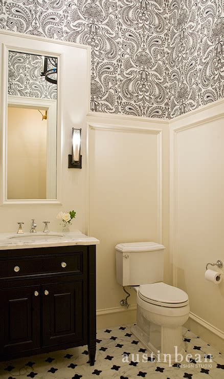 wall paper for bathroom black and white damask wallpaper traditional bathroom