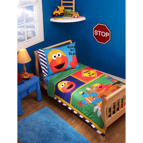 construction toddler bedding sesame street construction zone 4pc toddler bedding set