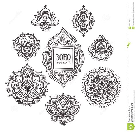 indian ornaments and design elements vector beautiful indian floral ornaments set of ornamental boho