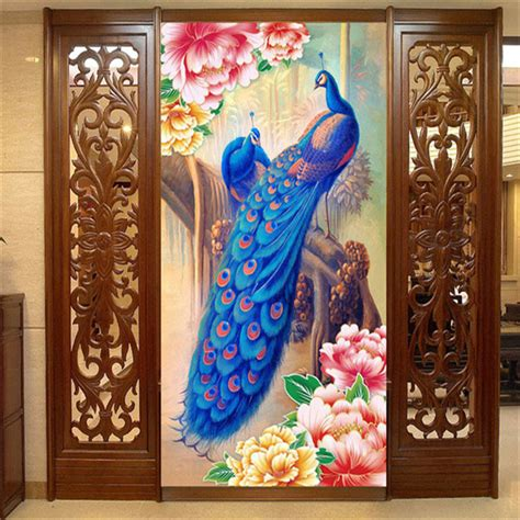 silk peacock home decor peacock and peony flower photo wallpaper oil painting