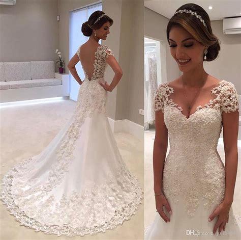 Dc Gaun Mermaid 3d lace floral cap sleeve country mermaid wedding dresses 2017 v neck vintage garden cheap