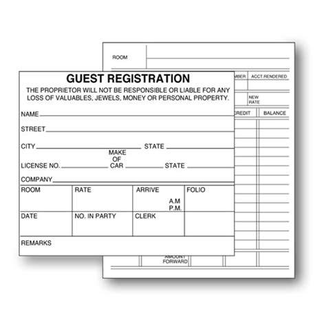Two Sided Guest Registration Cards Lodgmate Hotel Guest Registration Form Template