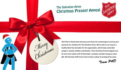 christmas gift donation charity p4d charity up your pound salvation army p4d co uk