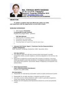 Resume Sample Format In The Philippines by Philippines Resume Sample Resumes Design