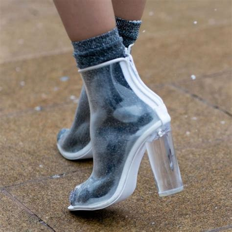 clear plastic shoes see through jelly shoes ankle high boots black