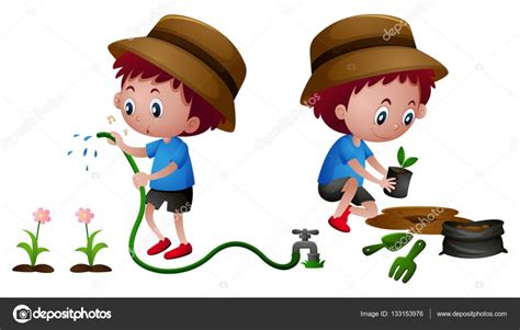 imagenes niños sembrando ni 241 o de plantar y regar las plantas vector de stock