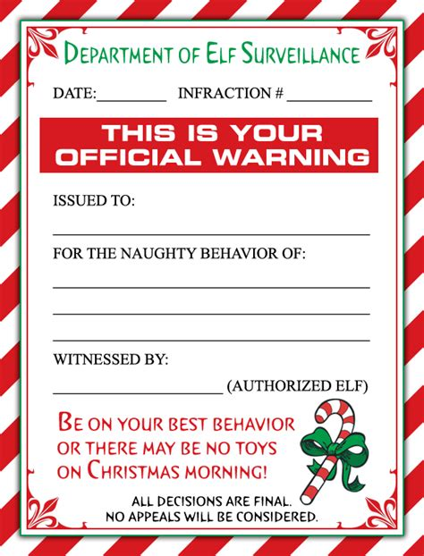 elf on the shelf official warning printable free elf warning letter