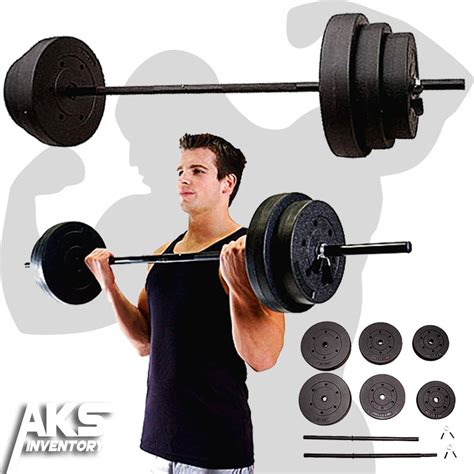 100lb barbell free weights home fitness equipment