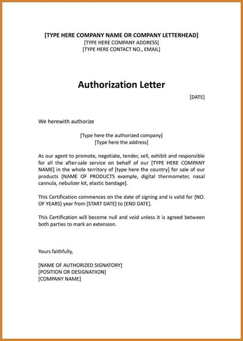 sle of authorization letter in authorization letter template 28 images authorization