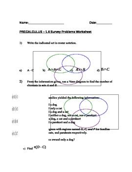 Set Theory Word Problems Worksheets