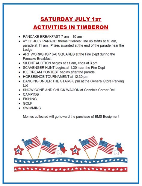 4th of july holiday activities timberon development