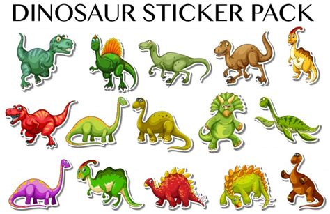 printable dinosaur stickers different kinds of dinosaurs in sticker design