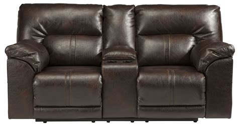 power reclining loveseats with console barrettsville durablend chocolate dbl power reclining