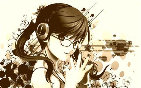 anime vintage wallpaper art girl glasses headphones abstract anime vintage