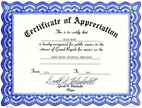 template for certificate of appreciation in microsoft word 6 appreciation certificate templates certificate templates