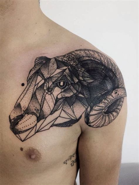 sheep tattoo ram sheep geometric animal skull