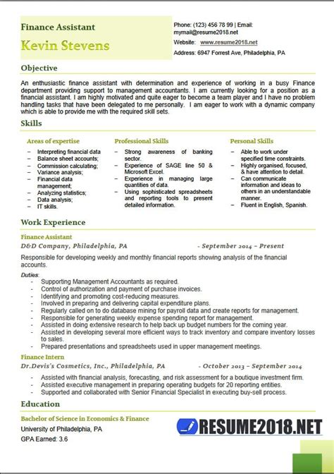 Finance Assistant Sle Resume by Financial Assistant Resume Resume Ideas