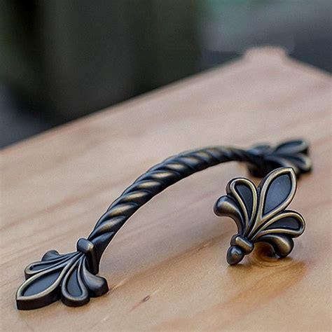 fleur de lis cabinet black vintage brass dresser drawer pulls handles knobs