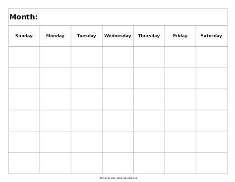 blank 6 week calendar template blank calendar landscape 6 weeks