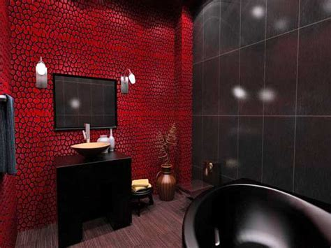 red wall bathroom black bathroom fixtures and decor keeping modern bathroom design elegant