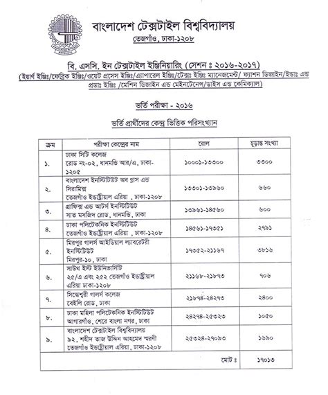 Butex Mba Admission Circular 2016 17 by Butex Admission Test Revised Circular 2016 Update 27 10 2016