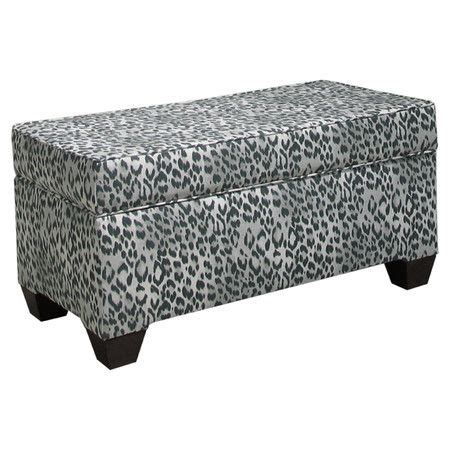 animal print storage bench stow throws media accessories and magazines in