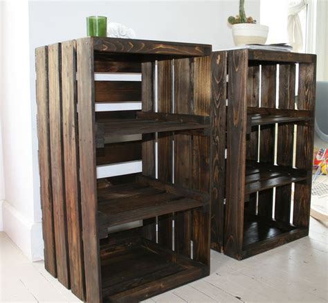 Wooden Crate Nightstand Woot Just Got These For Our Bedroom Wood Crate Handmade Table Furniture Nightstand Via Etsy