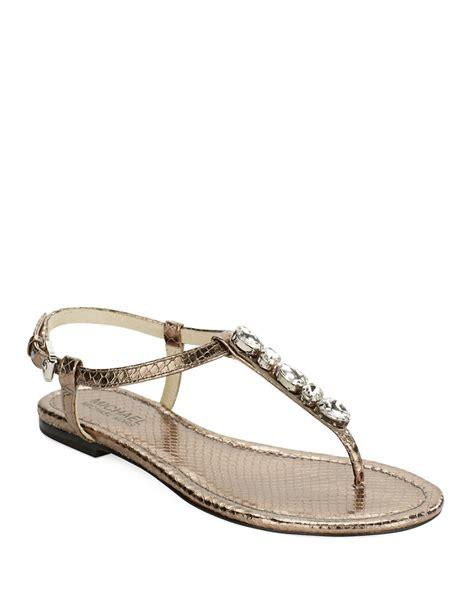 michael michael kors sandals lyst michael michael kors sandals in metallic