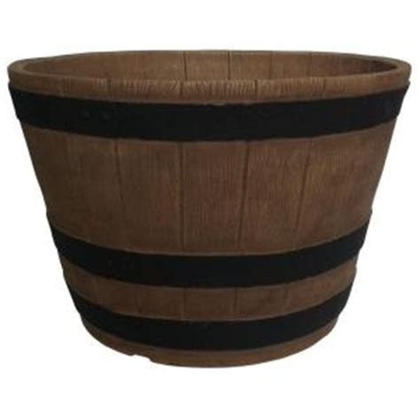Planters Online 20 In Round Oak Resin Whiskey Barrel Home Depot Whiskey Barrel Planters