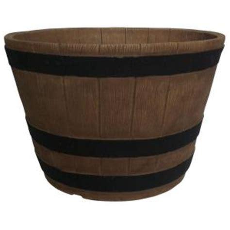 Planters Online 20 In Round Oak Resin Whiskey Barrel Home Depot Barrel Planter