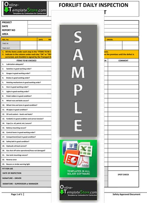forklift inspection checklist template health safety forms construction templates