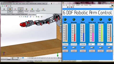 solidworks tutorial how to animate a 6 dof degrees of using labview to control a solidworks 6 dof robotic arm