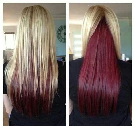 brown with red underneath hair red under layer hair would look awesome with brown hair