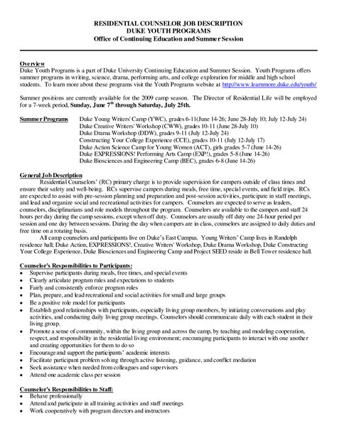 Residential Counselor Description Resume career counselor resume sales counselor lewesmr