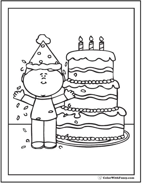 Coloring Page Of Birthday Boy With Cake Birthday Boy Birthday Boy Coloring Pages