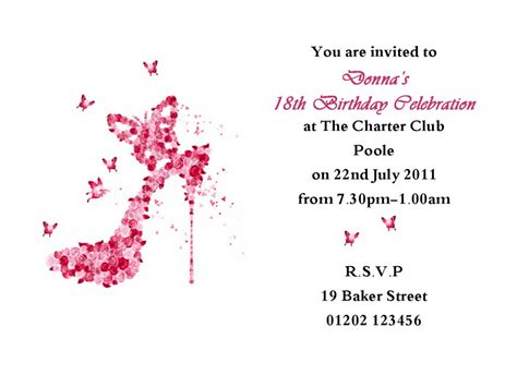 18th birthday invitation templates free personalised invitation cards template best template